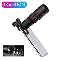 Yeshai3369 Telephoto Lens ABS Mobile Phone Camera Optical Lens External 18X Zoom HD Telephoto Lens with Universal Clip Red Red
