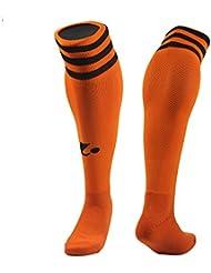 TeyxoCo Soccer Basketball Compression Sports Socks Stockings Orange + Black