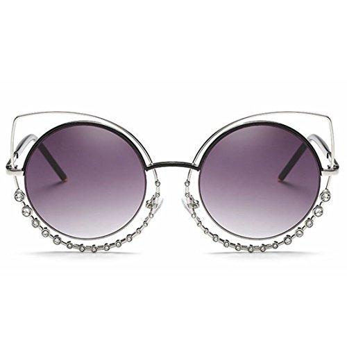 Yiph-Sunglass Sonnenbrillen Mode Diamant-Katzenaugen-Sonnenbrille-metallische Sonnenbrille der Frauen (Farbe : Silver Frame/Purple Lens)