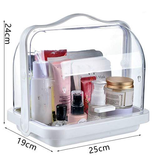 XIAOZHOU Kosmetische Aufbewahrungsbox Zuhause Make-up Aufbewahrungsbox Büro Flip Cover Kosmetik Schmuck Organizer Fall Desktop Pinsel Lippenstift Perle Kleinigkeiten Container Halter Weiß -