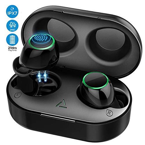 【Nuevo Versión】 Auriculares Inalambricos Bluetooth 5.0, Auriculares Bluetooth Deportivos IPX7 Impermeable, 21H Autonomía,Auriculares con Micrófonos Dual para iPhone Android Mpow/Seneo(Sub-Marca)