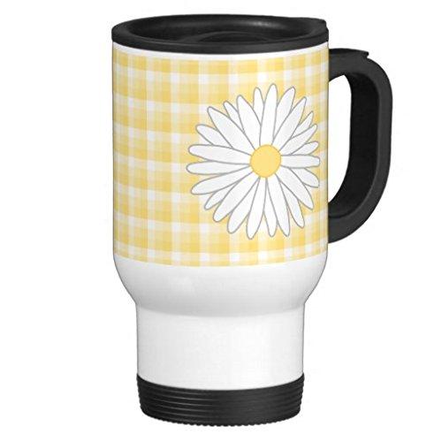 hiekon Daisy fleur en jaune et blanc tasse de voyage en acier inoxydable, 14-Ounce