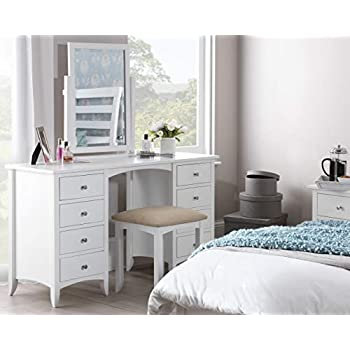 Edward Hopper white dressing table, 8 drawers, metal runners, chrome handles, Partially Assembled