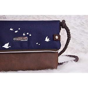 Foldover Tasche -Vögel Weiß/Blau/Braun- Umhängetasche Damen Klein Möwen Schwalben, Segeltuch Tasche mit Kunstleder…