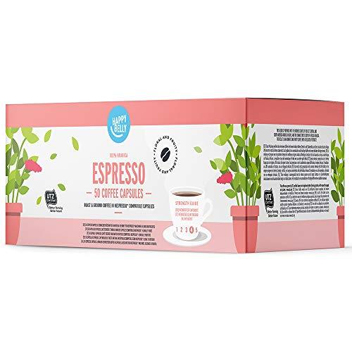 Amazon-Marke: Happy Belly Espresso Gemahlener UTZ Röstkaffee in Kapseln (kompostierbar), geeignet für Nespresso-Maschinen, 5 x 10 Kapseln