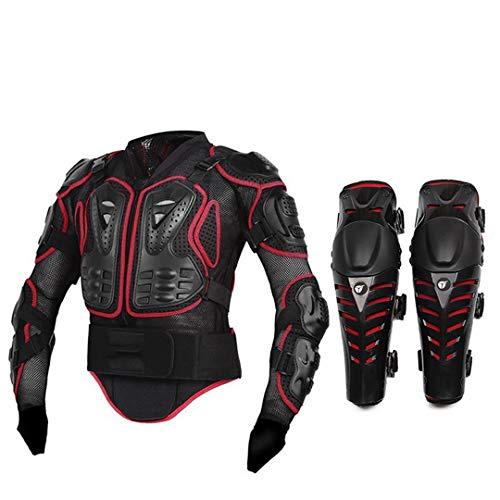 Gratydallks Motorradjacke Motorrad Körper Rüstung Schutzjacke + Schutz Motorrad Knie Pad Kits Anzüge Motocross Rüstung A STYLE RED S