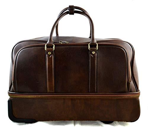 68e20dfcad Borsone in pelle borsa viaggio trolley pelle rigido borsa con ruote manico  borsa cabina bagaglio a ...