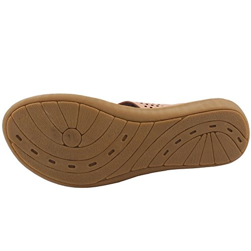 Unze New Women 'Terrence' Toe Post Eté Beach Party Get Together School Carnival Chaussons plats Casual Chaussures Royaume-Uni Taille 3-8 Beige