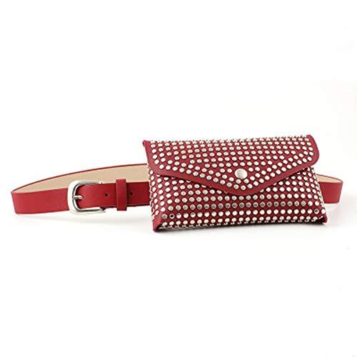 FeliciaWen-CL Damengürtel Handy-Einkaufsführer Taschen Casual Wind Rivet Intarsien Gürteltasche Damen Thin Gürtel Dekoration Ledergürtel (Farbe : Rot)