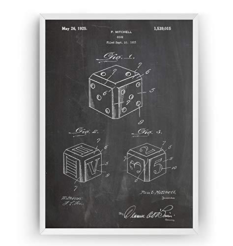 Poster - Brettspiel Dice Board Game Jahrgang Drucke Drucken Bild Kunst Geschenke Zum Männer Frau Entwurf Dekor Blueprint Decor - Rahmen Nicht Enthalten ()