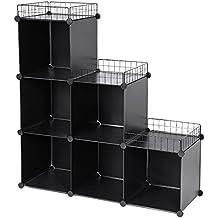 Songmics Armario modular de plástico Armario de Almacenaje Estantería Modulable Organizador Multiuso en forma de escalera con 1 Martillo de madera gratuito 108 x 36 x 114.5 cm Negro LPC112