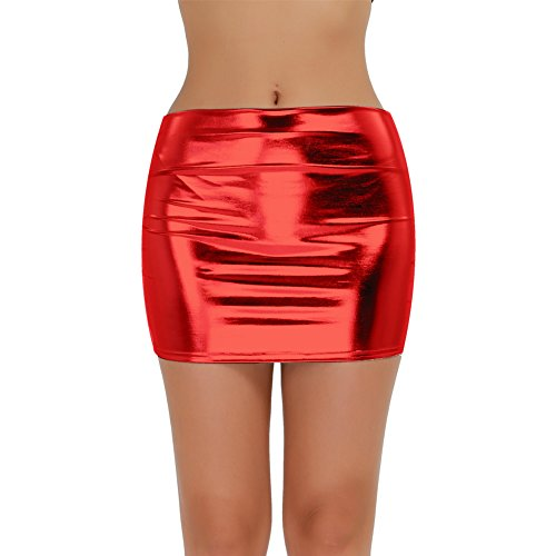 dPois Damen Lackleder Rock Mini Rock Frauen Kurz Rock in Leder-Optik Bleistift Röcke Nachtclub Glänzend Party Rock Wetlook Skirt Sexy Clubwear Rot One_Size -