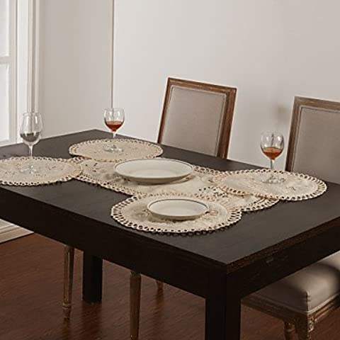 X7 Set di 5 Runner Bianco Hollow Table Design &