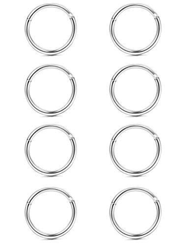 Yadoca 8 pezzi 16g 316l acciaio inossidabile septum piercing naso orecchio cartilagine tragus labbro anello del cerchio per uomini donne corpo piercing