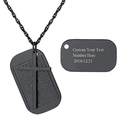 PROSTEEL personalisiert Kreuz Gebet Anhänger Halskette schwarz Metall plattiert Name Texte Gravur Dog Tag mit 60cm Kette Vaterunser Modeschmuck für Christen mit Geschenkbox(schwarz)