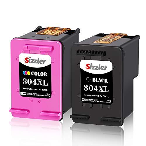 Sizzler Remanufactured 304XL Patronen Ersatz für HP 304 304XL Druckerpatronen Kompatibel mit HP DeskJet 2630 3720 3730 3735 3750 3760 Envy 5030 5032 5020 (1 Schwarz,1 Farbig) -