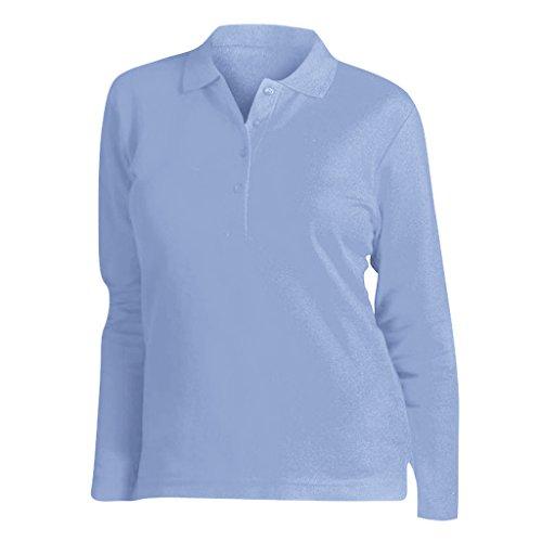 SOLS Podium Damen Pique Polo-Shirt, Langarm (XL) (Himmelblau) -