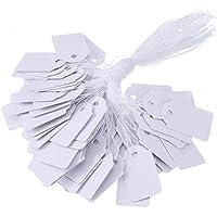 BBTO Etiquetas de Marcas de Regalo de Papel Blanco Etiquetas de Precio de Joyería con Hilo Etiquetas de Ropa, 500 Piezas, 18 por 29 mm