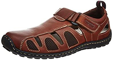 Pavers England Men's Brown Leather Sandals and Floaters - 11 UK