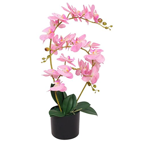 vidaXL Künstliche Orchidee mit Topf Kunstpflanze Kunstblume Dekoblume 65 cm Rosa