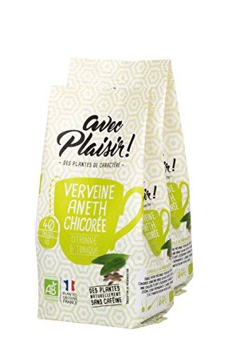 """avec Plaisir! - Infusions Bio : Verveine, Aneth, Chicorée - lot de 2 sachets de 125 g en vrac - Sensation """"citronné et tonique"""" - sans caféine - environ 2 x 40 tasses de tisane"""