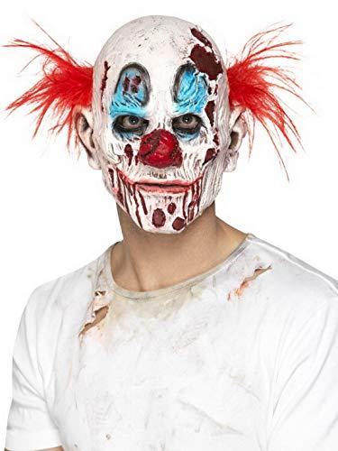Luxuspiraten - Kostüm Accessoires Zubehör Zombie Horror Clown Schaum Maske mit Haaren, perfekt für Karneval, Fasching und Fastnacht, Weiß