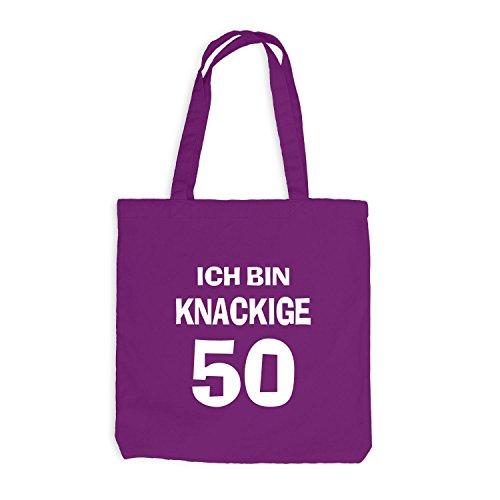 Jutebeutel - Ich bin knackige 50 - Geburtstag Birthday Fünfzig Magenta