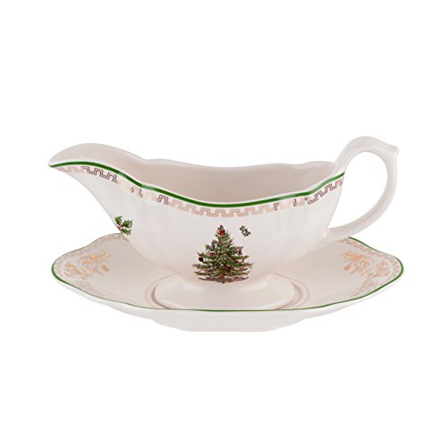 Spode Christmas Tree Sauce Boat and Stand, Gold by Spode (Sauce Spode Boat)