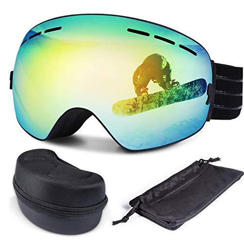 FYLINA Skibrille Snowboard Brille Schneebrille Outdoor Schutzbrillen mit Anti-Nebel UV-Schutz Zweilagige Anti-Fog PC Objektiv Austauschbare sphärische rahmenlose Linse