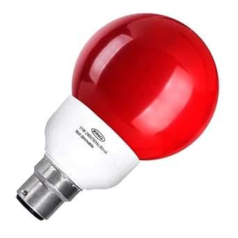 Globe économie d'énergie 11W Bc CFL ampoule Crompton Rouge
