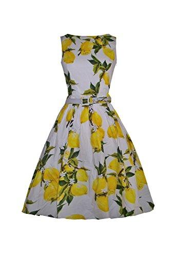 Up S Kostüme Pin 1940 (iLover 50s Vintage Rockabilly Blumenkleid Hepburn Stil Partykleid Cocktailkleid 50er Jahr Abendkleid, 04. Weiß, EU)