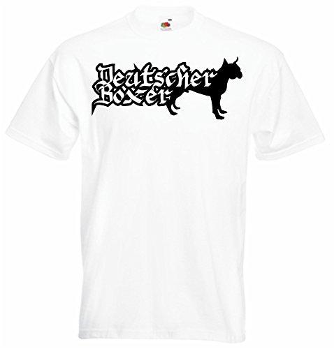 Black Dragon - T-Shirt Herren - JDM / Die cut - Deutscher Boxer mit Name German Weiß