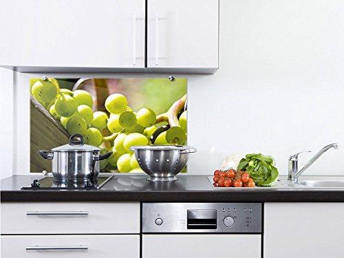 Ernte Design (Küchenrückwand Spritzschutz aus Glas Weintrauben Korb grün Früchte Ernte (80x50cm))