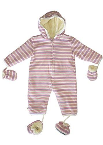 Merino Kids Winter Sherpa Babystrampler, Schlafsack für Babys 6-12 monate, Pink/Blue Stripe (Schlafsack Sherpa)