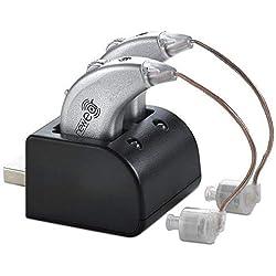 Amplificadores digitales de NewEar. Par de amplificadores de sonido personal recargable BTE con puerto USB - Amplificación de sonido premium de NewEar
