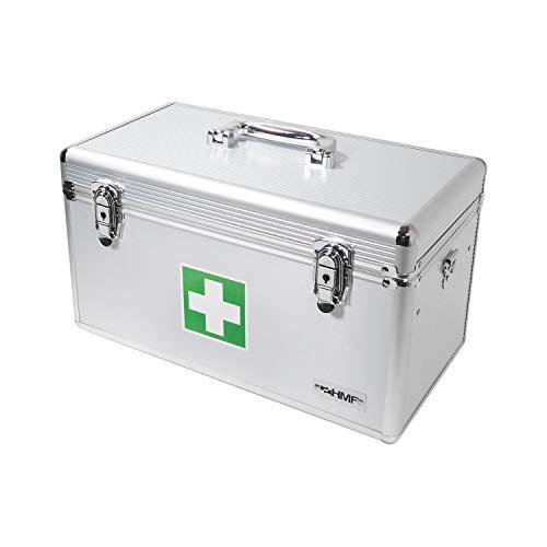4181 NjzH%2BL - HMF 14701-09 Botiquín de Primeros Auxilios, Depósito de Medicamentos, asa de Transporte, Aluminio, 40 x 22,5 x 20,5 cm