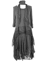TEXTURE ONLINE Damen Frauen Italienisch Lagenlook Schrullig PLAIN LONG 3 Stück Mohair Wolle Strick Lace Mesh Schal Tunika Kleid One Size Plus