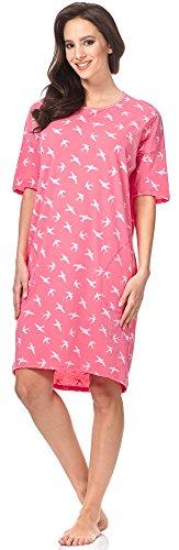 Italian Fashion IF Camicia da Notte per Donna Cleo 0114 Rosa/Bianco
