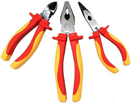 Preisvergleich Produktbild Judge Werkzeuge VDE isoliert Sicherheit Zangen Set von 3inklusive Kombination und Diagonal Schneiden und lange Nase