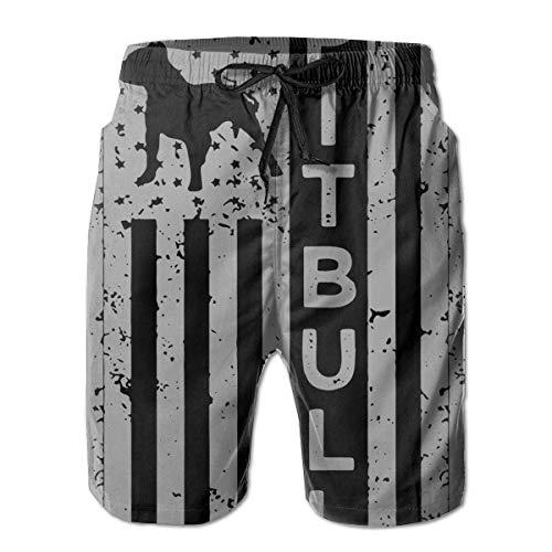 Amerikanische Flagge Pit Bull Dog Herren Sommer Casual Hawaiian Shorts mit Mesh-Futter M -