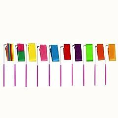 Idea Regalo - MUROAD 10 pezzi 2M lunghezza Palestra Nastro per ginnastica ritmica,Danza nastri di Ginnastica Ritmica Streamer Baton Twirling Rod seta Attrezzi per Bambini