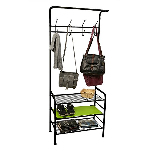 Mind Reader SHOECOAT-BLK Metal Coat, Shoe Rack, Purses, Scarf, Shelving Organizer, Black New