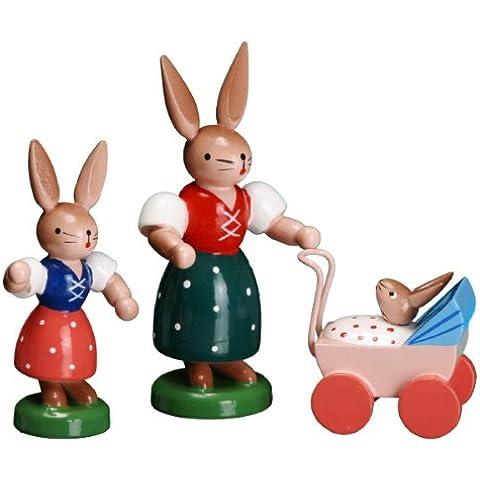 Montañas del mineral de Pascua Seiffen del arte popular del cochecito de niño los 7.5cm Esco del conejo NUEVAS