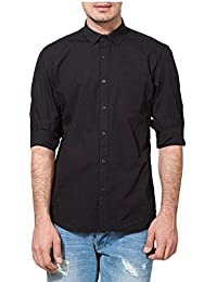 Urbano Fashion Black Solid Casual Shirt for Men