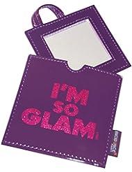 Incidence Paris Miroir de Sac Carre Vinyle I'm So Glam Paillete, 9 cm, Violet