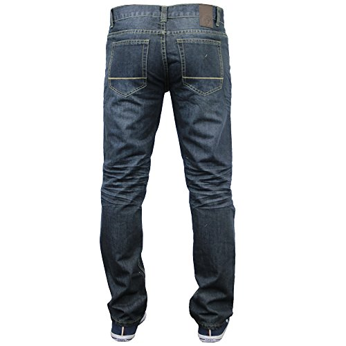 Herren Jeans Denim Brave Soul Slimfit Passform Hose Zerissen Aufrollen Hose Dunkel Jeans - JACKSON