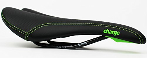 Charge Spoon Saddle - Black/Green / Comfortable Padded Seat Bike Chair Riding Ride Bicycle Cycling Cycle Biking Part Component Comfort Unisex Man Men Mountain Road Commuting City Padding Hybrid Pad