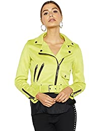 Debenhams Star by Julien Macdonald Womens Yellow Suedette Studded Biker Jacket