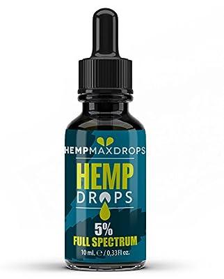 Hemp Oil Drops 5% 500mg 10ml Amber Hemp Drops | Raw Natural Ingredients | Vegan Friendly (500mg) from hemp max drops