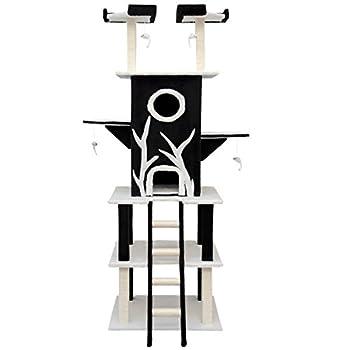 eyepower Arbre à Chat Linus 2,15m haute incl poteaux à griffer griffoirs en sisal refuge en peluche Noir